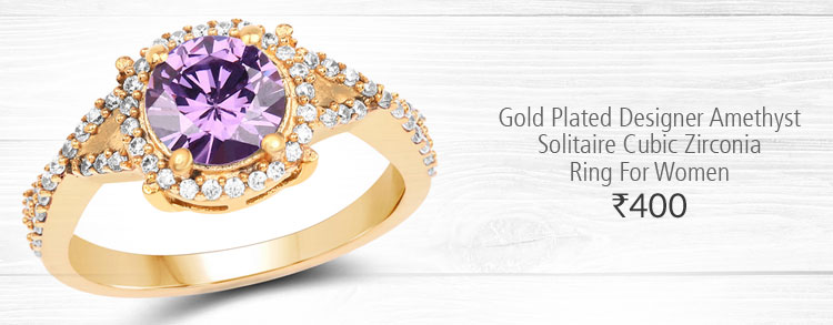 Gold Plated Designer Amethyst Solitaire Cubic Zirconia Ring For Women