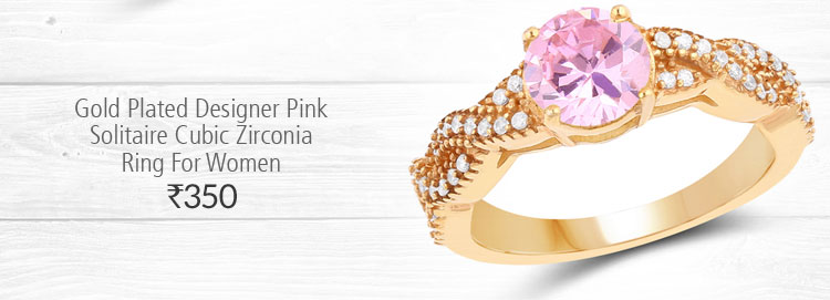 Gold Plated Designer Pink Solitaire Cubic Zirconia Ring For Women