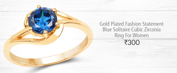 Gold Plated Fashion Statement Blue Solitaire Cubic Zirconia Ring For Women