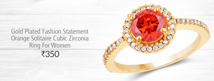 Gold Plated Fashion Statement Orange Solitaire Cubic Zirconia Ring For Women