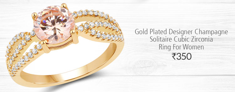 Gold Plated Designer Champagne Solitaire Cubic Zirconia Ring For Women