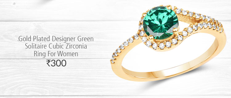 Gold Plated Designer Green Solitaire Cubic Zirconia Ring For Women