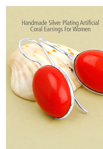 Handmade Silver Plating Artificial Coral Earrings For Women
