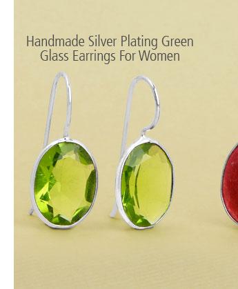 Handmade Silver Plating Green Glass Earrings For Women