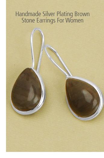 Handmade Silver Plating Brown Stone Earrings For Women