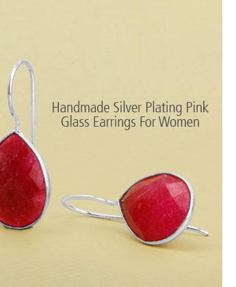 Handmade Silver Plating Pink Glass Earrings For Women
