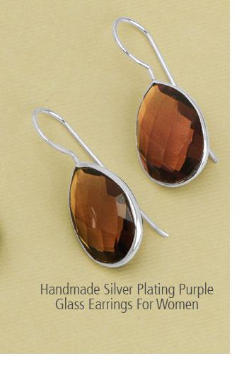 Handmade Silver Plating Purple Glass Earrings For Women