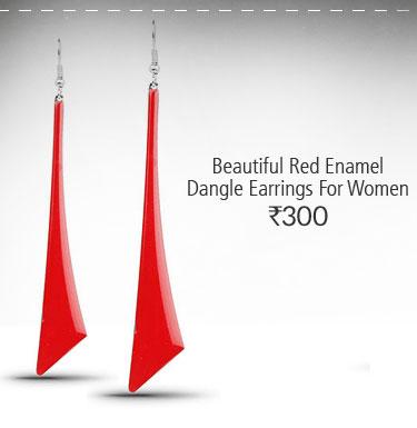 Beautiful Red Enamel Dangle Earrings For Women