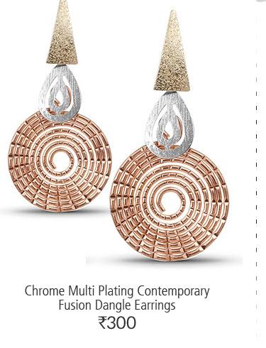 Chrome Multi Plating Contemporary Fusion Dangle Earrings