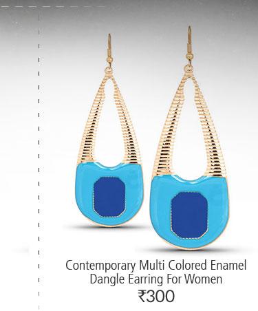 Contemporary Multi Colored Enamel Dangle Earring For Women