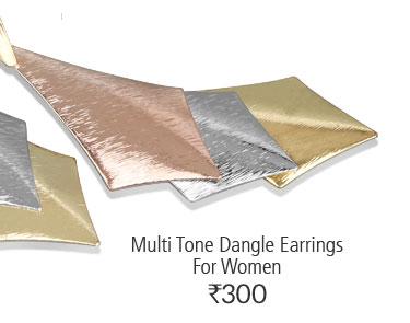 Multi Tone Dangle Earrings For Women