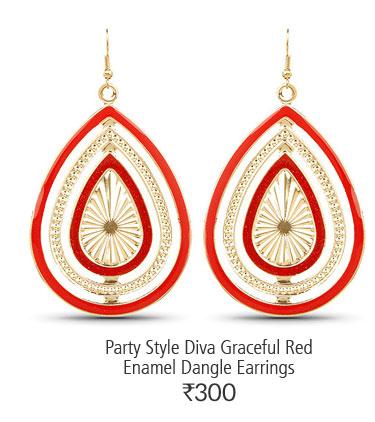 Party Style Diva Graceful Red Enamel Dangle Earrings